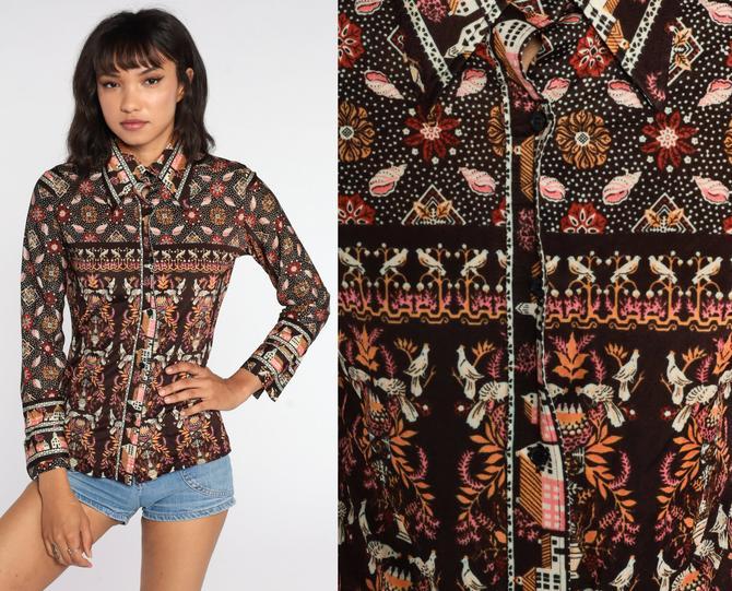 70s Bird Blouse Seashell Print Boho Shirt Bohemian Top Black Novelty Print Button Up 1970s Hippie Shirt Long Sleeve Vintage Small Medium by ShopExile