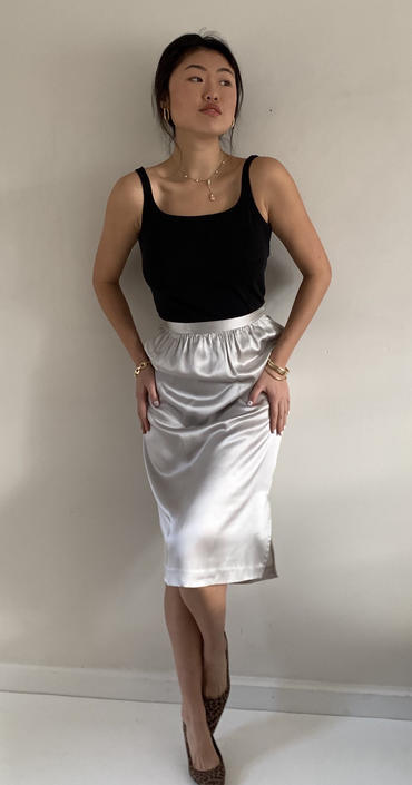 80s silk charmeuse skirt / vintage dove gray liquid silver silk satin skirt / vintage Deadstock skirt | 26 W size 4 by RecapVintageStudio