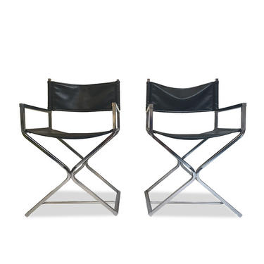 Pair of Black Vinyl & Chrome Director's Chairs by Virtue