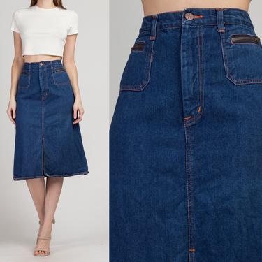 70s Denim A Line Skirt - Extra Small | Vintage Dark Wash Boho Jean Midi Skirt by FlyingAppleVintage