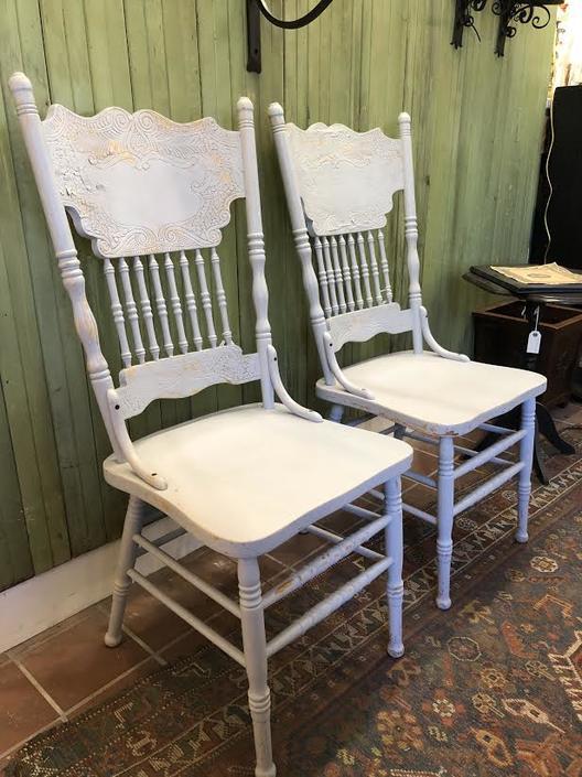 Pair of Royal Pacific Oak Chairs w/ Blue Chalk Paint