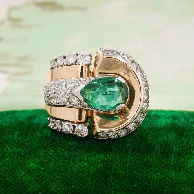 Retro Emerald Cocktail Ring c1930