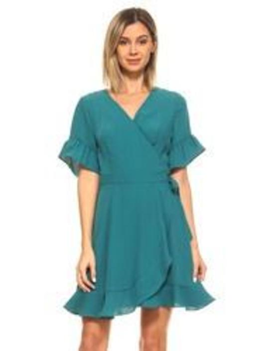 Short Ruffle Sleeve Wrap Dress