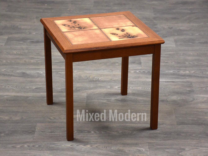 Danish Teak & Tile End Table by Toften by mixedmodern1