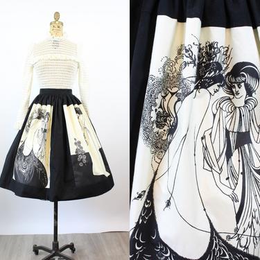1960s AUBREY BEARDSLEY Isolde print skirt small | new spring by CrushVintage