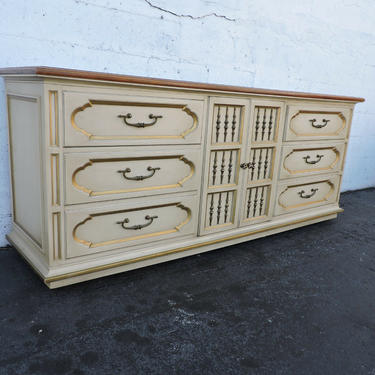 Hollywood Regency Long Painted Two Tone Dresser TV Console by Heritage 8200