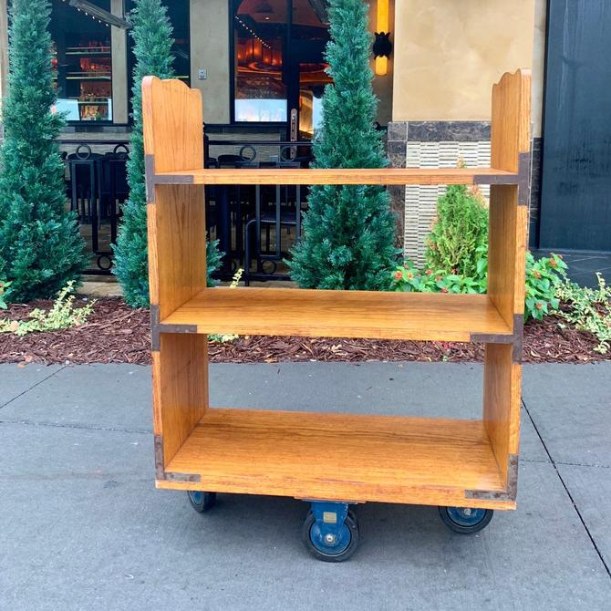 Vintage Library Cart | Wooden Booktruck | Library Rolling Shelf | Bookstore Display | Mobile Book Storage | School Book Organizer | Shelf by PiccadillyPrairie
