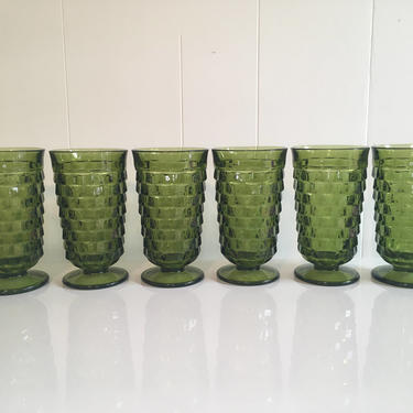 Vintage Iced Tea Glasses Set of Six (6) Indiana Glass Whitehall Pattern Olive Green Avocado Highball Glasses 1960s by CheckEngineVintage