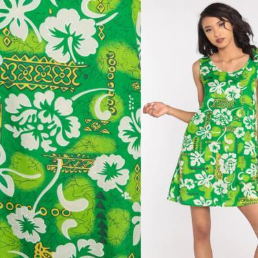 90s Floral Dress Green Hawaiian Tropical Mini Sundress Flower Print Summer Dress Boho 1990s Bohemian Chic Vintage Shift Sleeveless Small by ShopExile