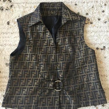 Vintage FENDI FF Zucca Print Monogram Womens Brown Black Vest Jacket Dress Coat Trench  S M L by MoonStoneVintageLA