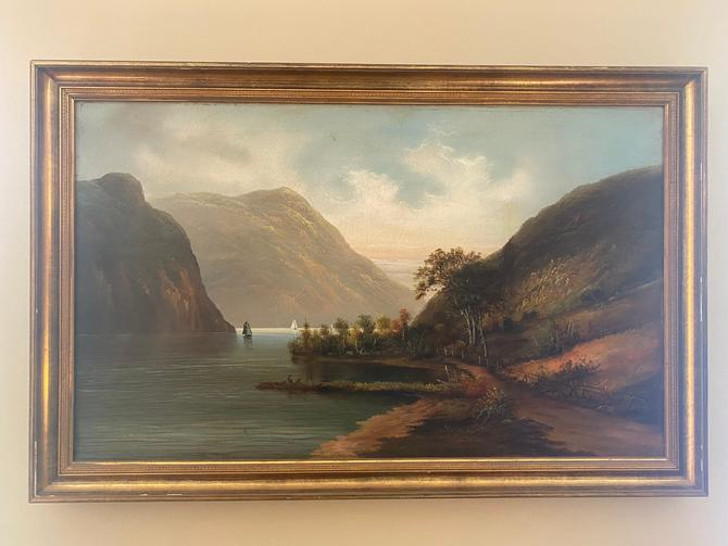 Antique Hudson River School Landscape Oil on Canvas Painting 19th century by MSGEngineering