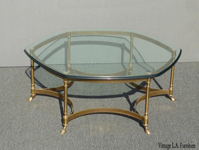 Vintage Labarge Style Hexagon Brass Coffee Table w Hoof Foot ~ Hollywood Regency by VintageLAfurniture