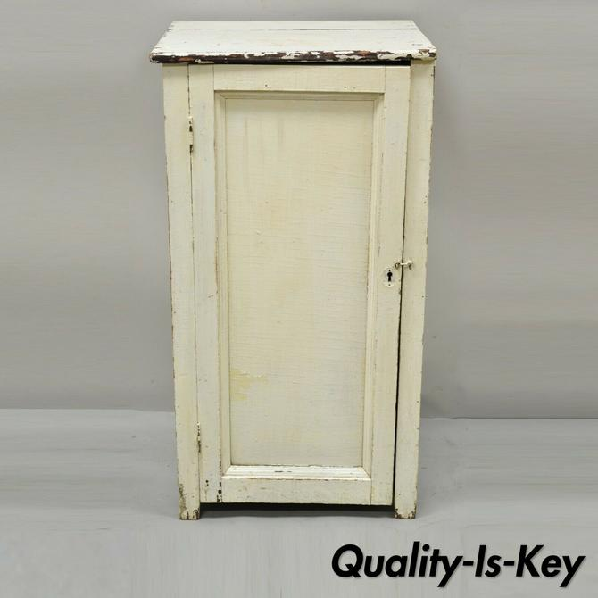Antique Primitive White Shabby Chic One Door Kitchen Cupboard Cabinet Stand
