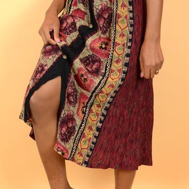 Vintage Maroon Earth Tone Tribal Print A-Line Skirt by MAWSUPPLY