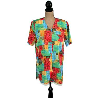 80s Polyester Print Blouse Medium, Patchwork Colorful Tunic Top, Short Sleeve Button Up Shirt, 1980s Clothes Women, Vintage Christie & Jill by MagpieandOtis