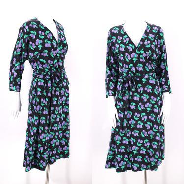 80s DVF black raspberry print classic wrap dress 12 / 1980s vintage Diane Von Furstenberg sash tie dress Large 1970s 13 by ritualvintage
