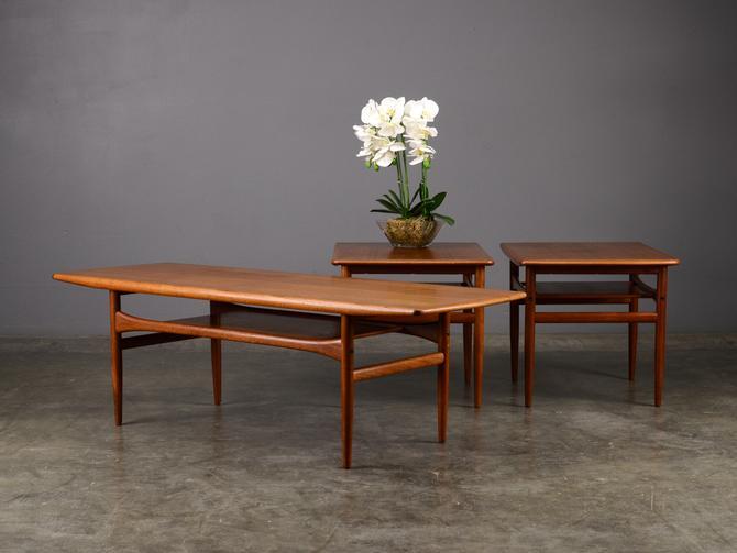 3pc Set Coffee and Side Tables Mid Century Danish Modern Teak by MadsenModern