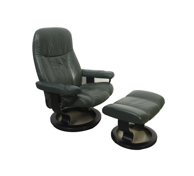 Phenomenal Ekornes Stressless Reclining Chair Ottoman Green Leather Ocoug Best Dining Table And Chair Ideas Images Ocougorg