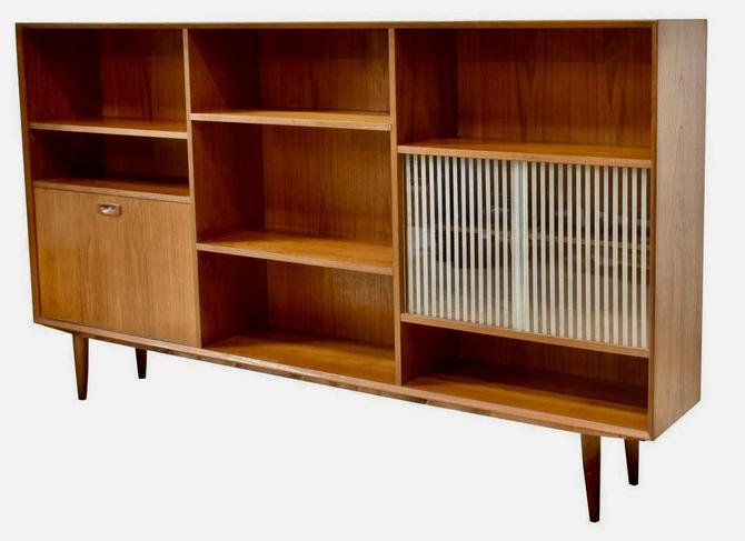 Danish Mid Century Modern Bookcase Sideboard by BigWhaleConsignment