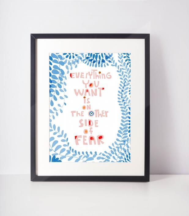 Everything you want if at the other side of fear art print for cubicle decor by VioletredStudio