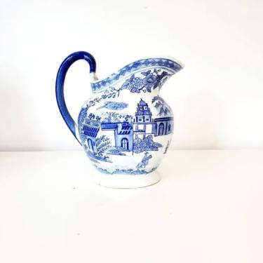 Vintage Large Blue & White Floral Chinoiserie Vase by pennyportland