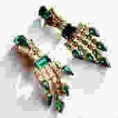 1967 Green and Clear Rhinestone Chandelier Earrings by LegendaryBeast