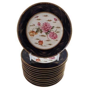 Antique French Limoges Porcelain Dinner Plates, Set 12, French Antique Dinner Plates by BostonVintageStudio