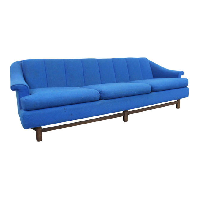 Mid-Century Modern Blue 3-Seater Sofa on Wood Base, Danish Modern Couch by AnnexMarketplace