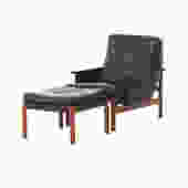 danish modern black lounge chair and ottoman