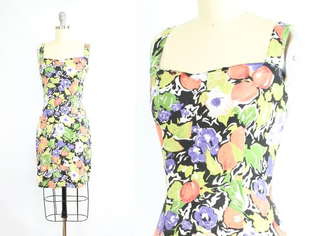 Vintage 90's Abstract Fruit Print Mini Dress / 1990's Fruits and Flowers Dress / Body Con Dress / Women's Size Medium by RubyThreadsVintage