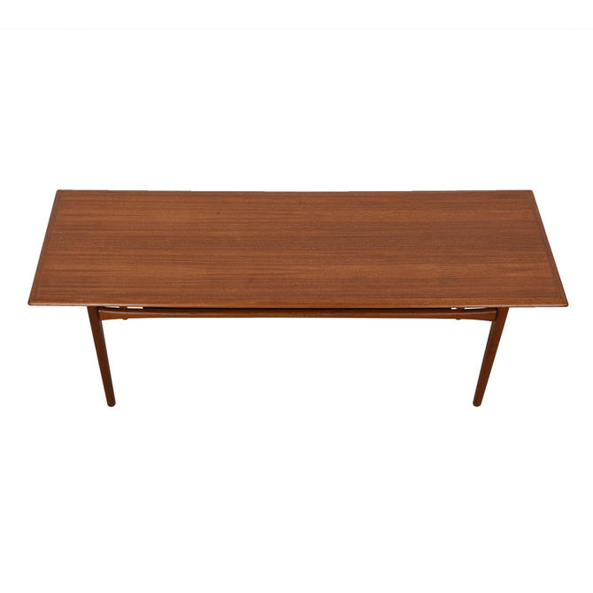Danish Modern Long Teak Rectangular Coffee Table with Shelf