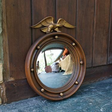 1950s Vintage Mid-Century Federal Eagle Convex Mirror Wooden Gilt Plaster Colonial US USA Bullseye Admiral Fleet Navy American by BrainWashington