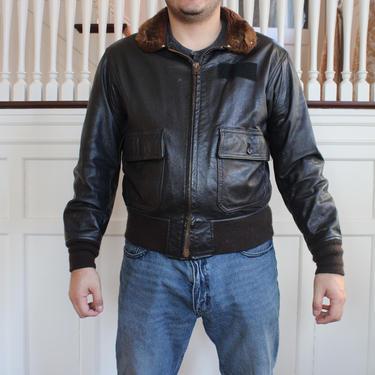 Vintage Genuine Leather MIL-J-7823E (AS) Flight Jacket with Fur Collar Men's Size 44 / Medium - Large by NeonSkyVintageMN