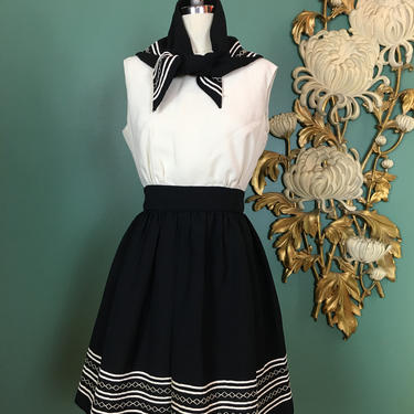 1970s mini dress, black and white, vintage 70s dress, western style, size small, cheerleader style, dress and scarf, Jerell of Texas, 26 by BlackLabelVintageWA