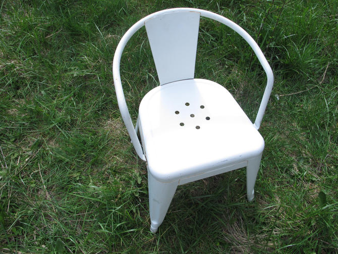 French Vintage Kids Metal Chair Childrens White Tolix Style Arm Chair Industrial Metal Childs chair Mid Century Modern White MCM Chair by akaATA