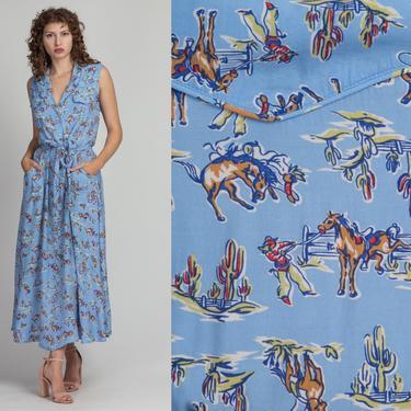90s Cowboy Print Maxi Pocket Shirtdress - Large | Vintage Blue Belted Sleeveless Snap Up Collared Retro Dress by FlyingAppleVintage