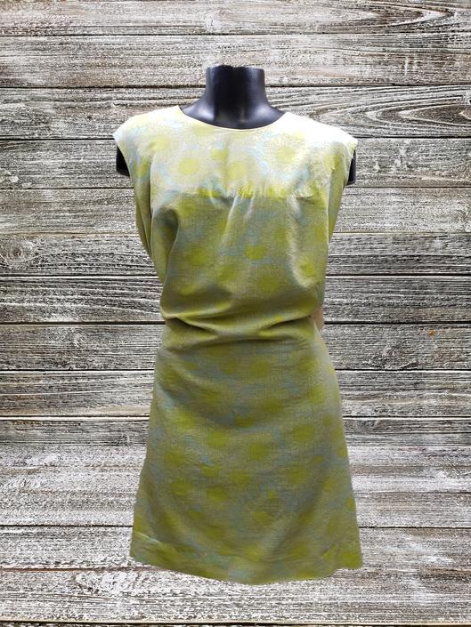 Vintage 1960s Sunflower Dress, Vintage Sleeveless Summer Dress, Plus Size Yellow & White Sheath Dress, Retro Flower Print, Vintage Clothing by AGoGoVintage