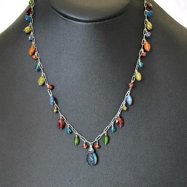 60's sterling gemstones princess bling necklace, spinel garnet citrine tourmaline quartz 925 silver paper clip chain romantic hippie fringe by BetseysBeauties
