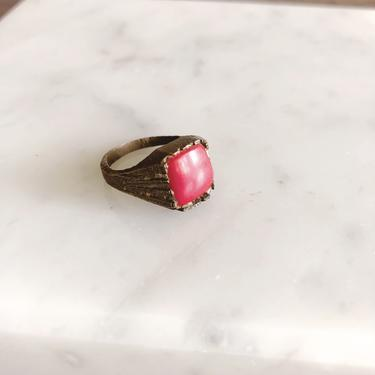Vintage Brass and Red Coral Ring by TheDistilleryVintage