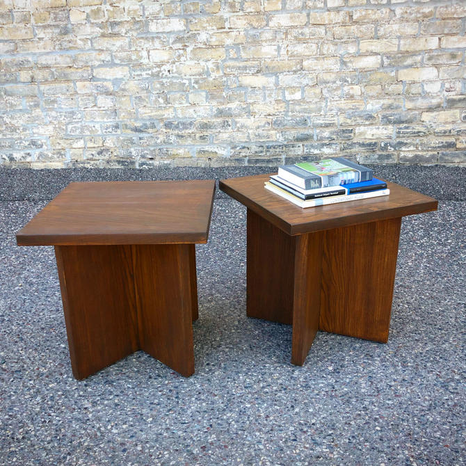 Reclaimed Urban Wood Pedestal Tables