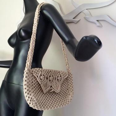 Vintage 70s Macrame Purse 1970s HIppie Boho Handbag Shoulder Bag Tote Shiny Synthetic Rope Cord Mint Condition NOS Deadstock Hippy Festival by elliemayhems