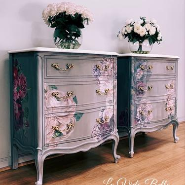 Stunning French Provincial Chests, Nightstands, Side Tables, Hand Painted,, Vintage, Antique. by LaVidaBellaDesign