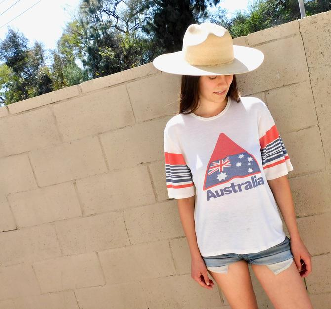 Australia Tee // vintage 70s boho shirt jersey 80s tee t-shirt t dress blouse white 80s ringer // S/M by FenixVintage