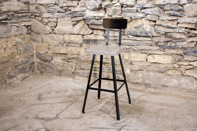 FREE SHIPPING - Brew Haus Industrial Style Scooped Back Bar Stools - London Fog Edition - Great for restaurants, bars and cafes! by BarnWoodFurniture