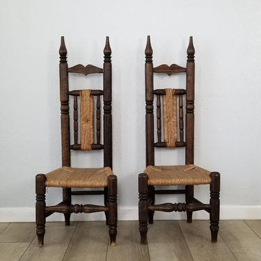 A Pair of Handmade High Back African Fireside Chairs , Gio Ponti Style . by MIAMIVINTAGEDECOR