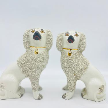 """Antique Pair of English Staffordshire Poodle Spaniel White Dogs-Curl Confetti textured hair.  7"""" Nice Condition by JoAnntiques"""