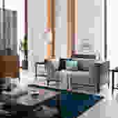 Walnut Mid Century Sofa 2 Seater,  Loveseat Sofa, Wood frame sofa, Mid Century sofa  - Bella Collection - Ekais by Ekais