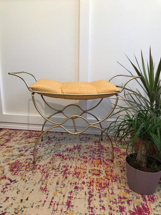 Vanity Seat Stool, 1960s Vanity Stool, Metal seat, tufted gold and brass stool by VintageCoreReStore