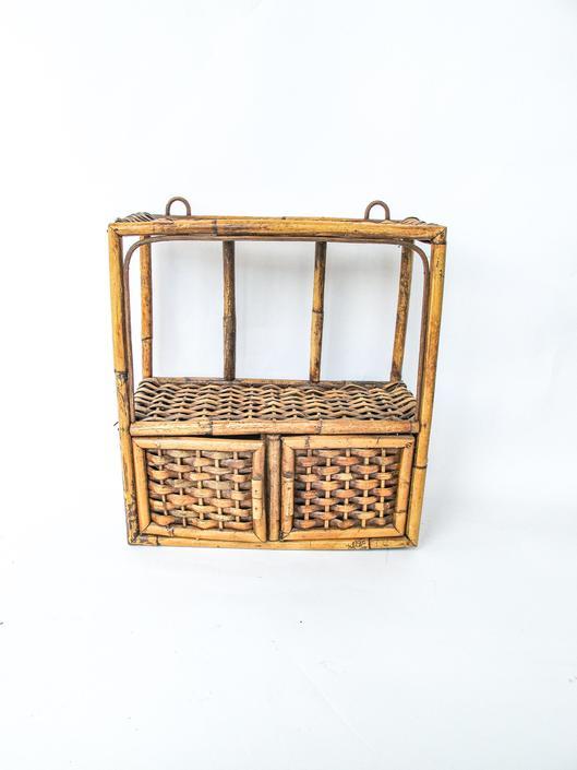 Vintage Wicker Rattan Woven Bohemian Hanging Cabinet and Shelf by PortlandRevibe