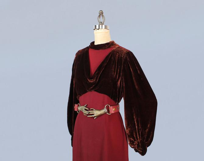 1930s Dress / 30s Wine Red Rayon and Liquid Silk Velvet / Bishop Sleeves by GuermantesVintage